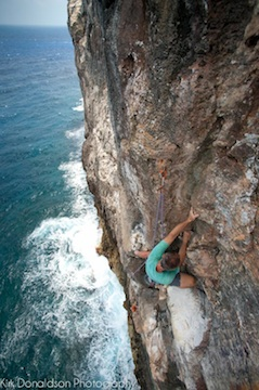 sea cliff climbing, long routes up to 140' long