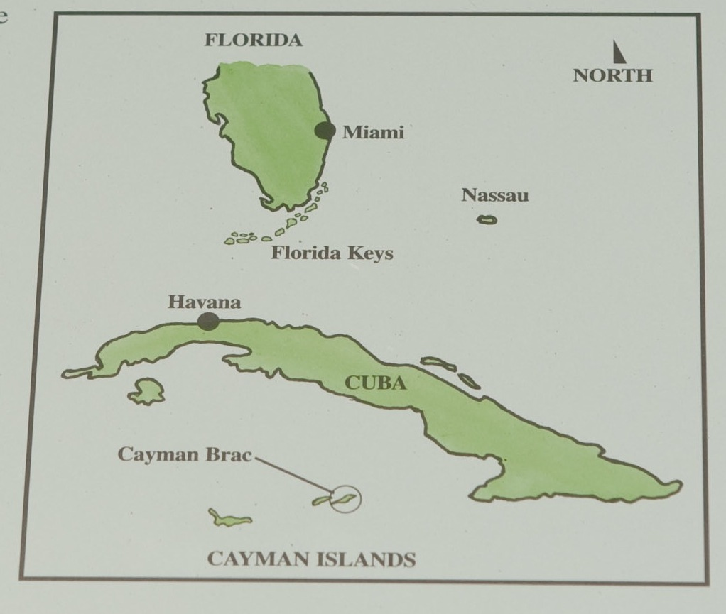 Due South of Miami, Cayman Brac is one of the three Cayman Islands